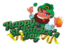 Drunk cartoon leprechaun holds in his hands the Shamrock and beer. Isolated on white background. Vector illustration for St. Patrick`s Day. Greeting card design Stock Images