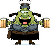 Drunk Cartoon Orc. A cartoon illustration of a female orc looking drunk Royalty Free Stock Image