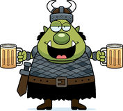 Drunk Cartoon Orc. A cartoon illustration of an orc looking drunk Royalty Free Stock Image