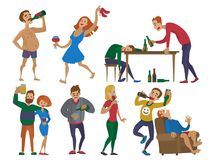 Drunk cartoon people alcoholic man and woman alcoholism drunken tipsy characters person vector illustration. Drunk cartoon people with alcohol man and woman Stock Image