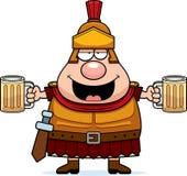 Drunk Cartoon Roman Centurion. A cartoon illustration of a Roman Centurion drinking beer Royalty Free Stock Photo