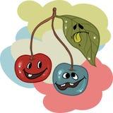 Drunk cherry mascot cartoon character. Vector Royalty Free Stock Photo