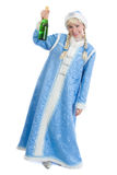 Drunk christmas girl with bottle of champagne. Drunk girl dressed in traditional russian christmas costume of Snegurochka (Snow Maiden) with bottle of champagne Royalty Free Stock Photo