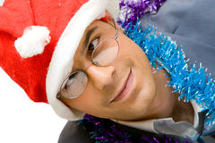 Drunk Christmas man Stock Image