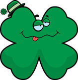 Drunk Clover. A cartoon four leaf clover looking drunk Royalty Free Stock Images
