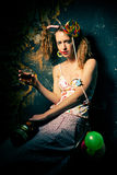 Drunk clown - a young girl. Royalty Free Stock Image