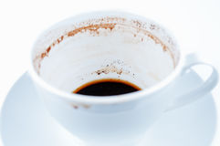 Drunk coffee cup and saucer on white background. Close up Stock Image