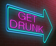 Drunk concept. Illustration depicting an illuminated neon sign with a drunk concept Stock Images