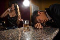 Drunk Customer at a Bar Stock Images