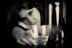 Drunk and depressed lonely woman Royalty Free Stock Photo
