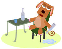 Drunk dog. A very drunk dog sitting on a chair and holding a wine bottle royalty free illustration