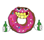 Drunk doughnut cartoon Royalty Free Stock Photography