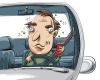 Drunk Driver. A cartoon man driving drunk Royalty Free Stock Photos