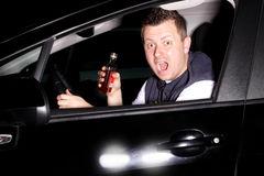 Drunk driver causes an accident. Drunk driver pulls into the path straight into another car Royalty Free Stock Images
