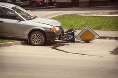 Drunk driver cut in road Zach with a pedestrian. On the sidewalk royalty free stock photos