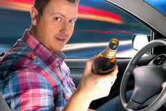 Drunk driver drinking alcohol Royalty Free Stock Photos
