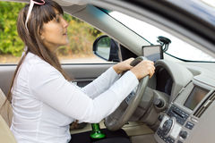 Drunk driver trying to judge her distances Stock Images