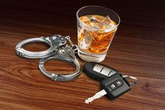 Drunk Driving. Alcoholism Alcohol Police Handcuffs Key Whisky Stock Photos