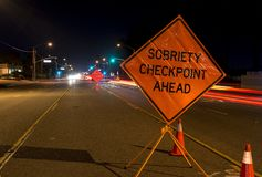 Drunk Driving. A DUI check point in Anaheim, CA