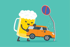 Drunk and driving make car accident. Beer lifting a car crashed into no parking signs. This illustration description to driving while drunk is case car accident Royalty Free Stock Photography