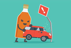 Drunk and driving make car accident. Royalty Free Stock Images