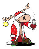 Drunk elk. The Christmas elk with champagne stock illustration