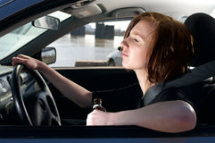 Drunk female driver Royalty Free Stock Photos