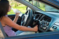 Drunk female driver Stock Image