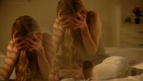 Drunk female suffering dizziness, multiple effect, mental disorder hallucination. Stock footage stock video footage