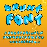 Drunk font. Different letters slope. Crazy ABC. curves alphabet.  Stock Images