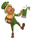 Drunk fun Patrick holds pot of gold and glass of green beer Stock Images