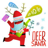 Drunk Funny Monster Deer Santa Claus with horns and bottle Christmas Stock Image