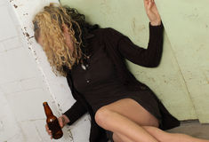Drunk girl & elevator door 3 Stock Photo