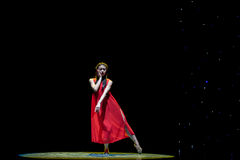 Drunk-Girl In Red-Modern Dance Stock Photos