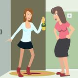 Drunk girl returns home vector cartoon Royalty Free Stock Photos