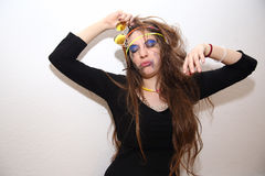 Drunk girl with smeared makeup posing at party Stock Photography