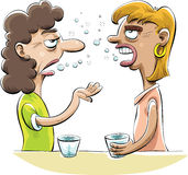 Drunk Gossip. Two drunk women friends gossip over drinks stock illustration