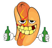 Drunk hotdog cartoon Stock Images
