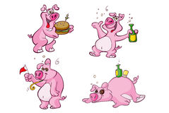 Drunk and hungry pig cartoon characters. Set of funny pink pig cartoon drawings with food and liquor acting hungry and drunk Stock Photo