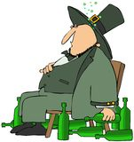 Drunk Leprechaun. This illustration depicts a drunk man dressed in green with beer bottles surrounding him Royalty Free Stock Photos