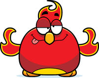 Drunk Little Phoenix. A cartoon illustration of a phoenix bird looking drunk Royalty Free Stock Photos