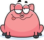 Drunk Little Pig. A cartoon illustration of a little pig looking drunk Stock Photo