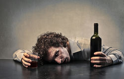 Drunk Man. Man drunk with red wine Royalty Free Stock Photos