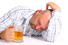 Drunk Man. On white background Royalty Free Stock Images