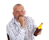 Drunk Man. With bottle isolated on white background Stock Photo