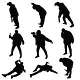 Drunk man art vector silhouette Royalty Free Stock Photography
