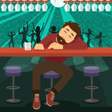 Drunk man asleep at bar. Alcoholic drunk man asleep at the bar in the night club Royalty Free Stock Photography