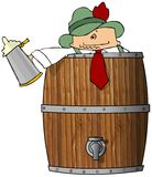 Drunk Man In A Beer Barrel. This illustration depicts a drunk Oktoberfest man peering from a wooden beer barrel Stock Photos