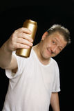 Drunk man with beer can Royalty Free Stock Image