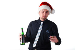 Drunk man in a black suit Royalty Free Stock Image